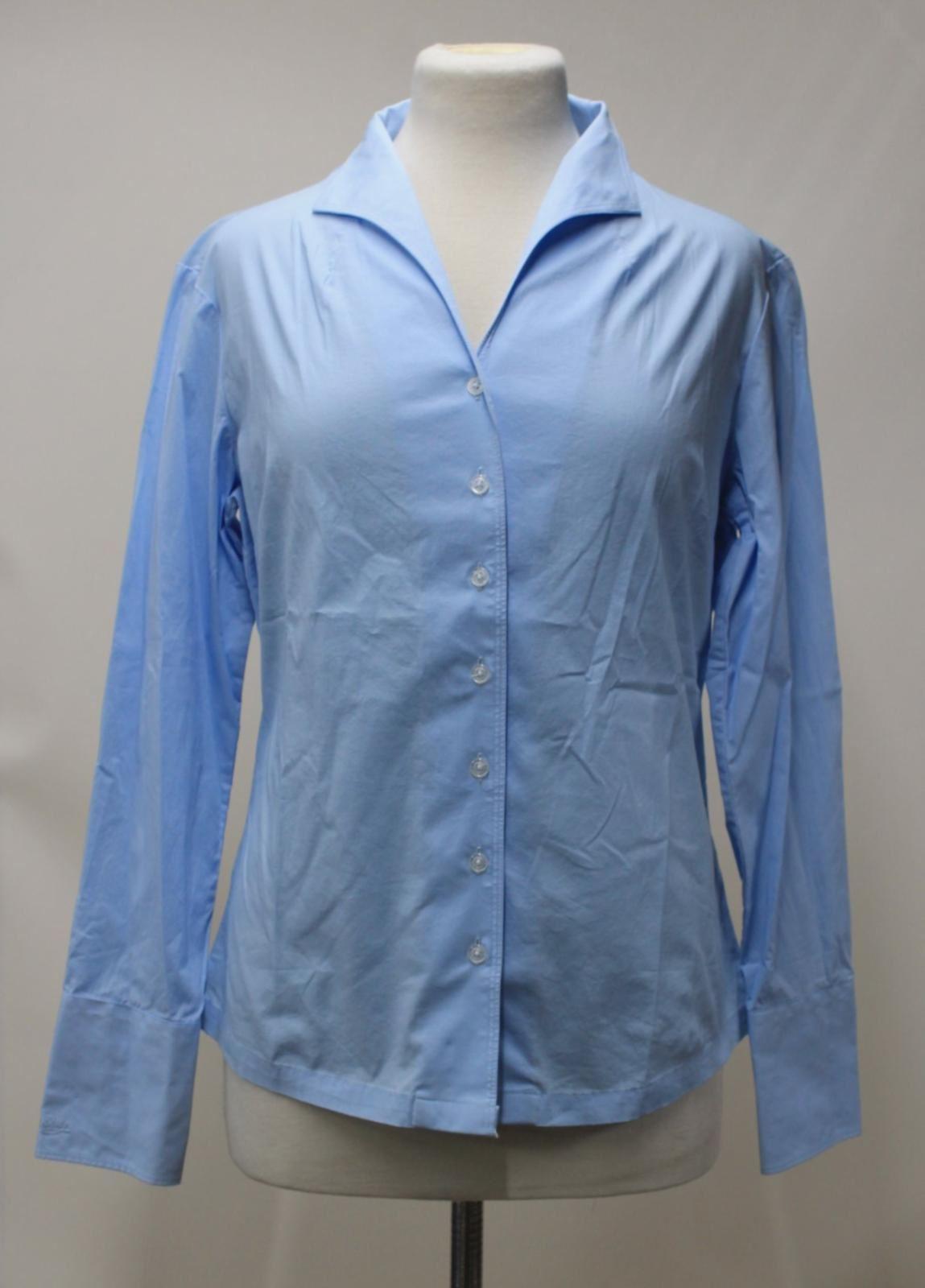 BNWT Dubarry Donna Bucaneve blu cotone stretch con colletto V-Neck Shirt UK16