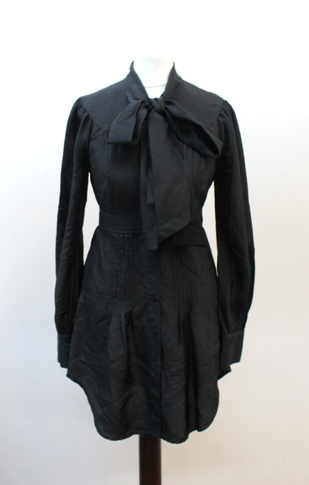 TED-BAKER-Ladies-Black-Silk-Long-Sleeve-Crew-Neck-Tie-Shirt-Dress-Size-0-UK4