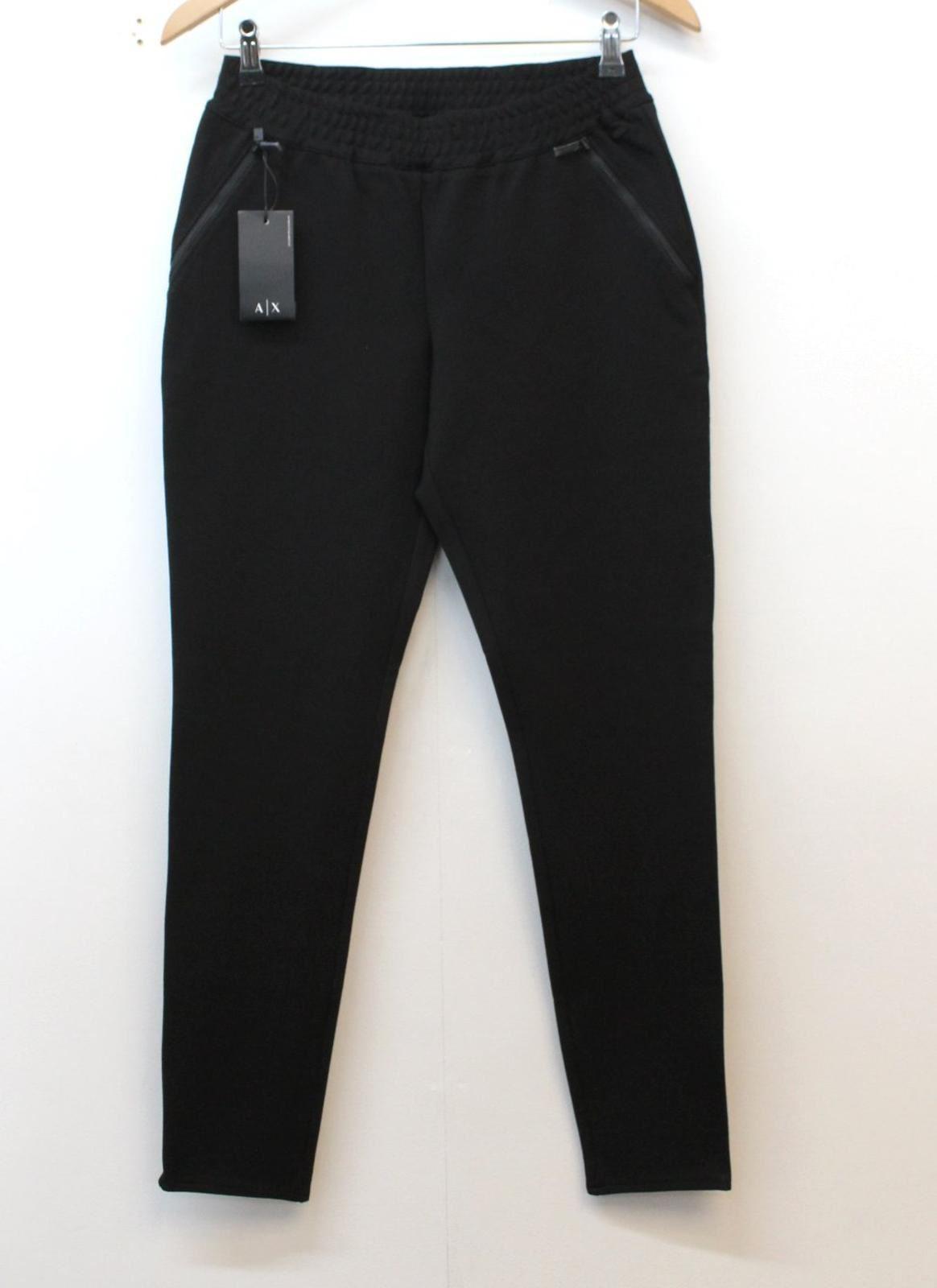 Armani Exchange Femme Noir Taille élastique Jogger Casual Pantalon S W25 L27 Bnwt
