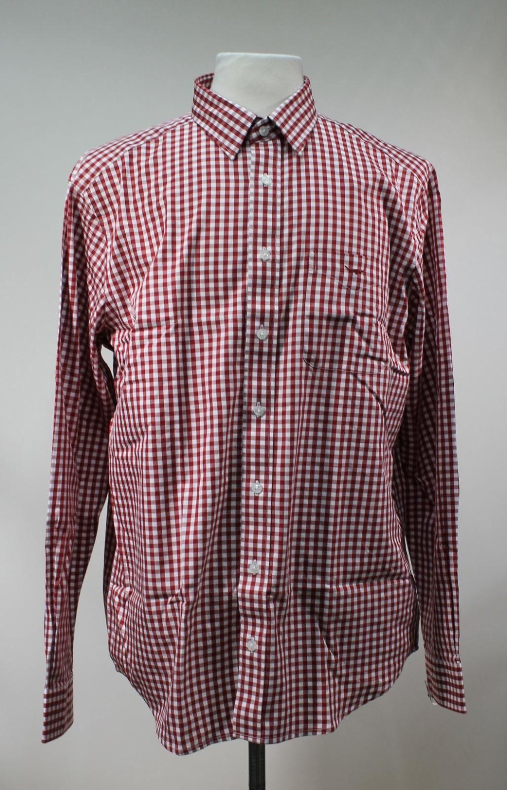 BNWT R. M. Williams uomo rosso cotton Verificato con Colletto Collins Camicia Taglia L