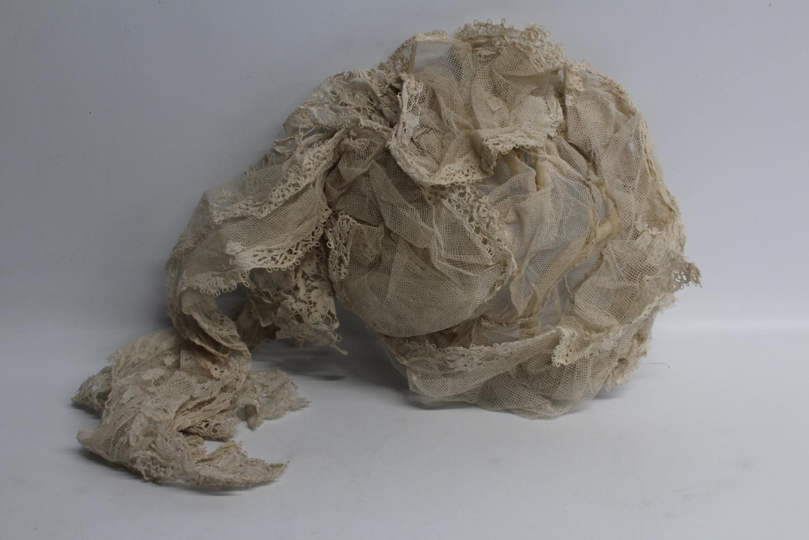 Originale Vintage Vittoriano Donna Pizzo Ricamo Bonnet Cap Per Feste Vestito-mostra Il Titolo Originale