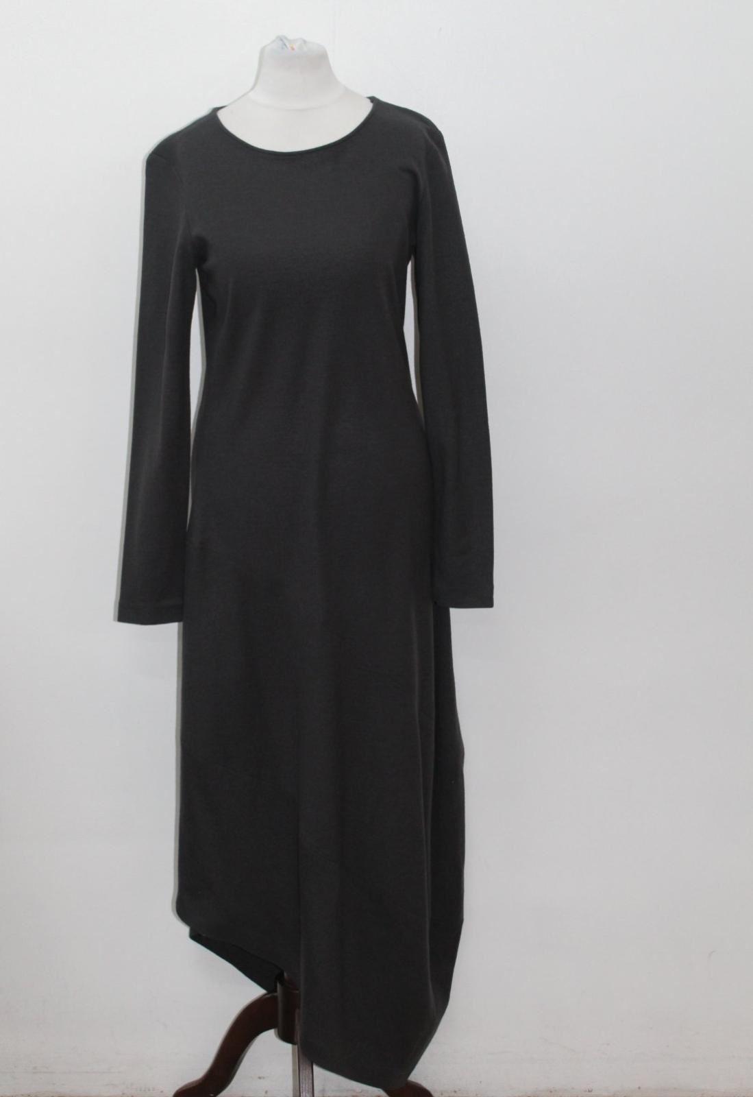 NICOLE FARHI Ladies Grey Wool Long Sleeve Asymmetric Hem Dress UK10 EU38