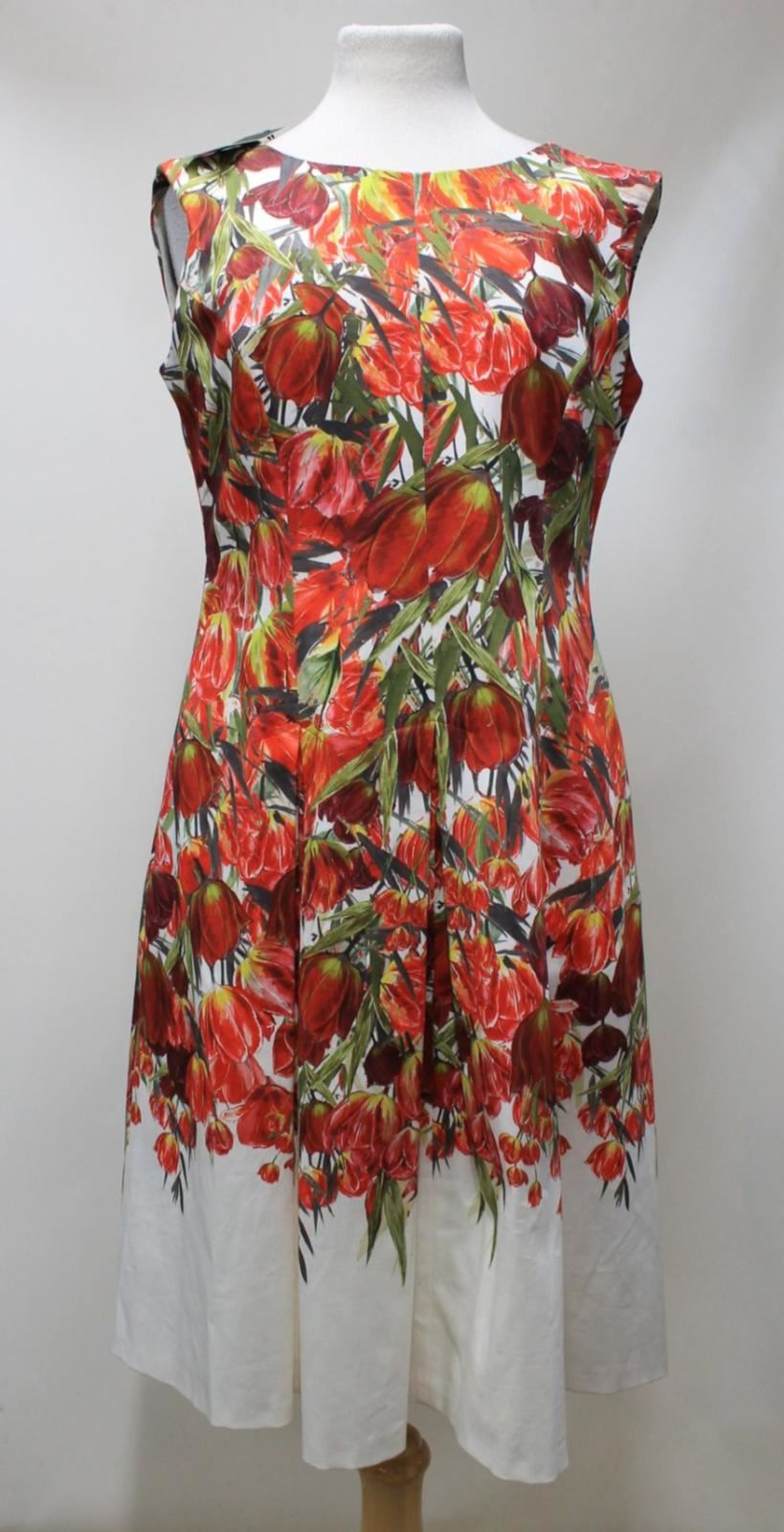 HOBBS-Nia-Ladies-Ivory-Multi-Cotton-Floral-Print-Sleeveless-Shift-Dress-UK10-NEW