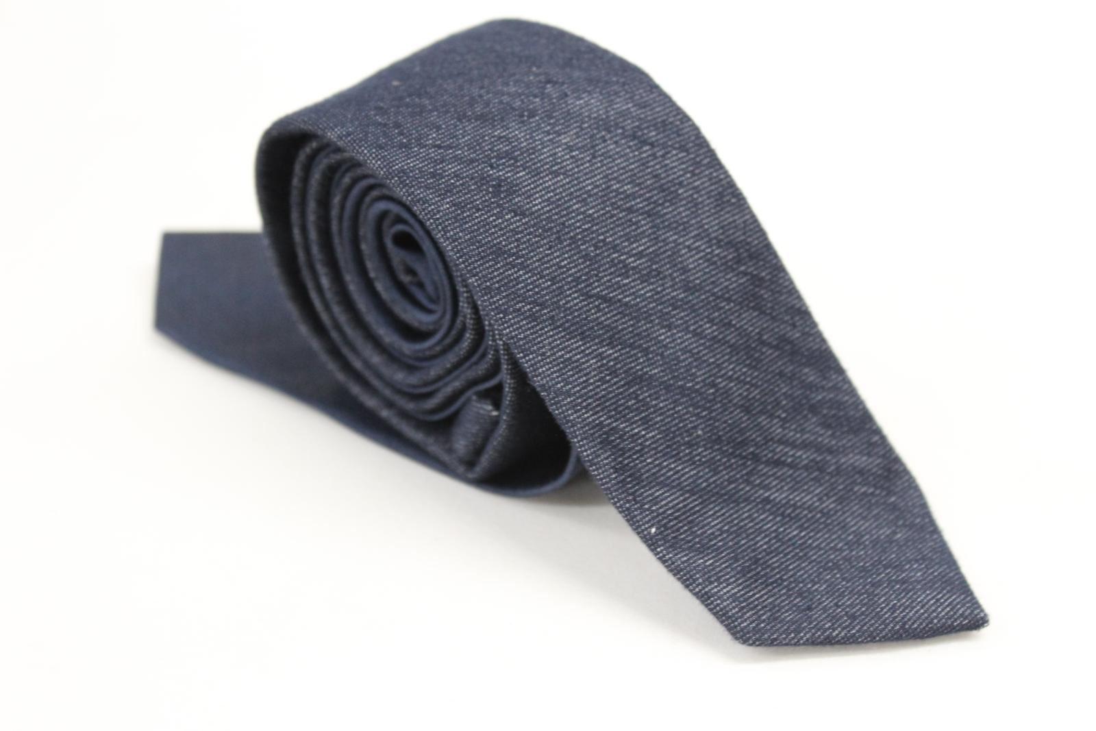 Affidabile Da Uomo Cravatta Navy Blue 2 Pollici Skinny Larghezza 59 Cm Di Lunghezza Di Seta E Cotone- Ad Ogni Costo