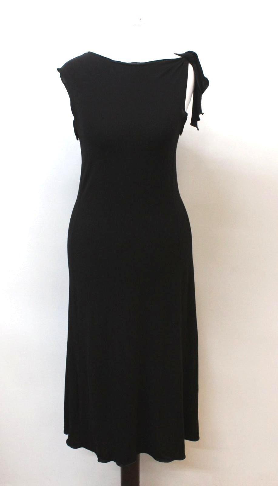 ARMANI-COLLEZIONI-Ladies-Black-Sleeveless-Knot-Tie-Shift-Style-Dress-US6-UK10