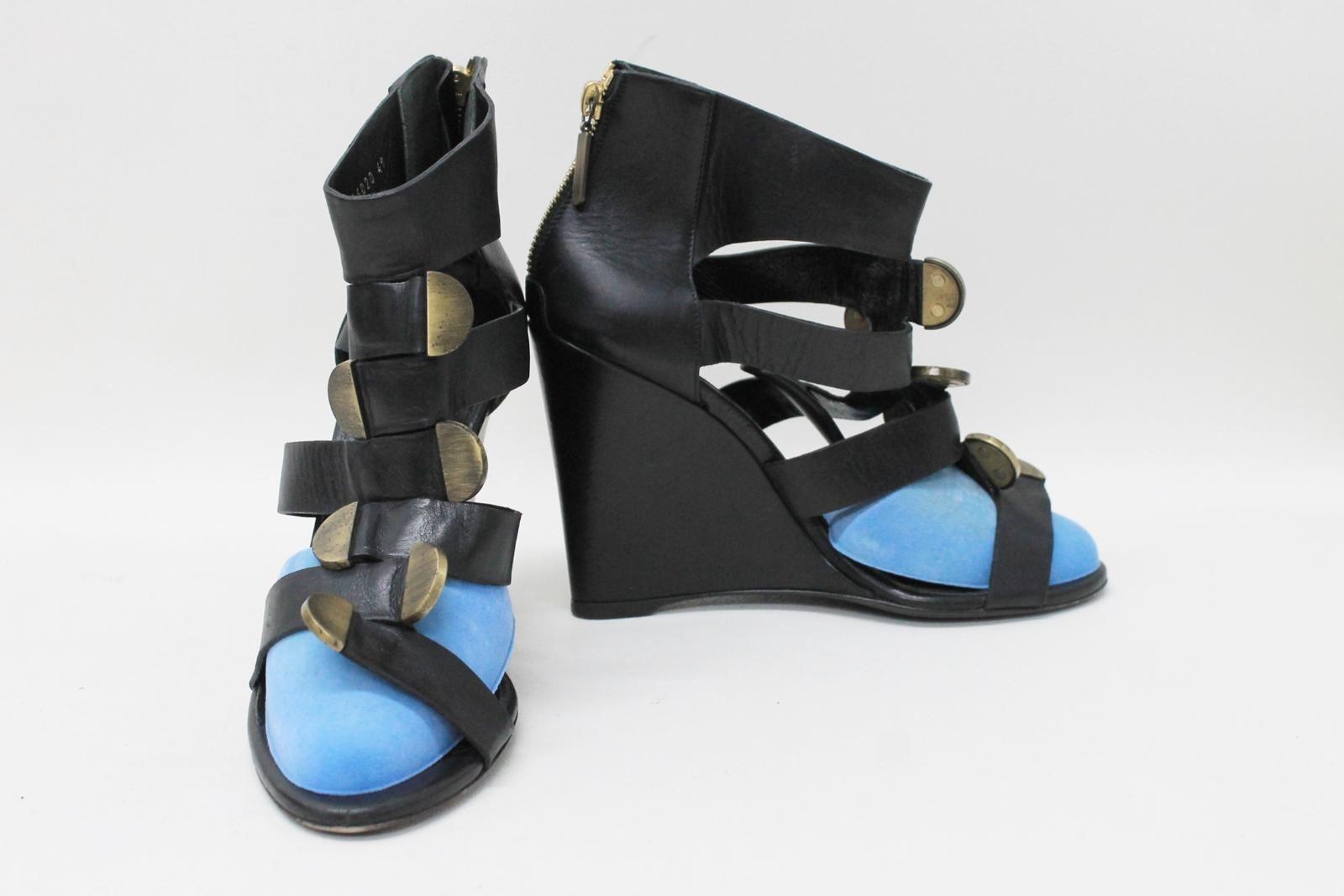 BALENCIAGA-PARIS-Ladies-Black-Leather-Strappy-Wedge-Sandals-Shoes-EU40-UK7