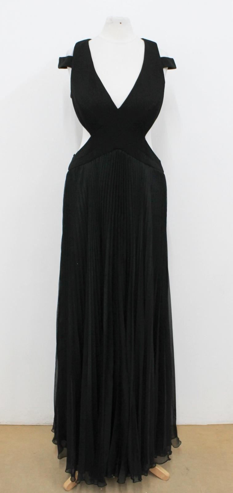 LM BY MIGNON Ladies schwarz V Neck Pleated Strappy Cut Out Maxi Dress US6 UK10