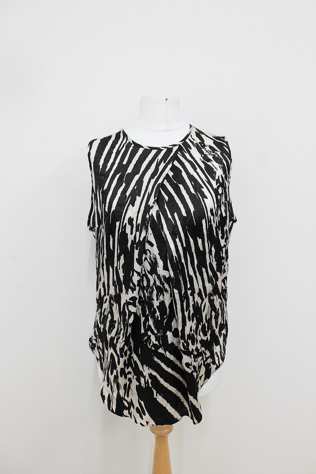MB BY MALENE BIRGER Ladies schwarz Weiß Zebra Pattern Crew Neck Top EU36 UK8