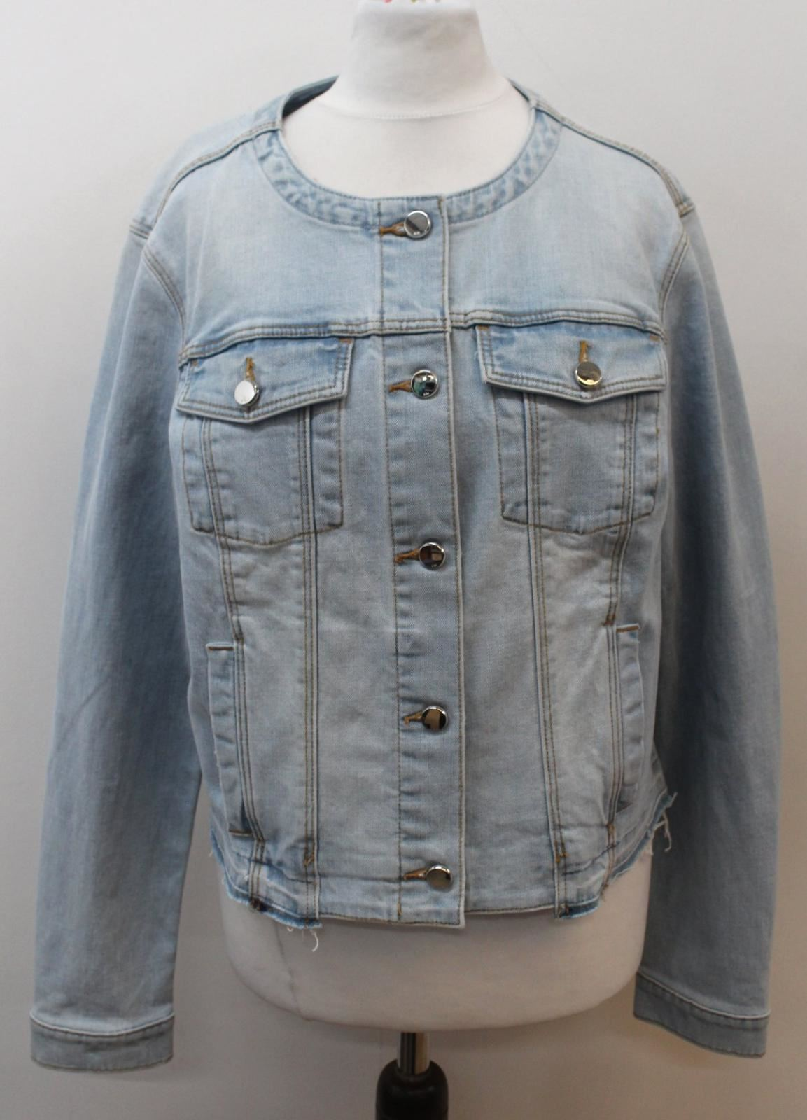 Uk14 chiaro in donna denim colletto Karen Eu42 Giacca blu con Millen 4w6TTgq