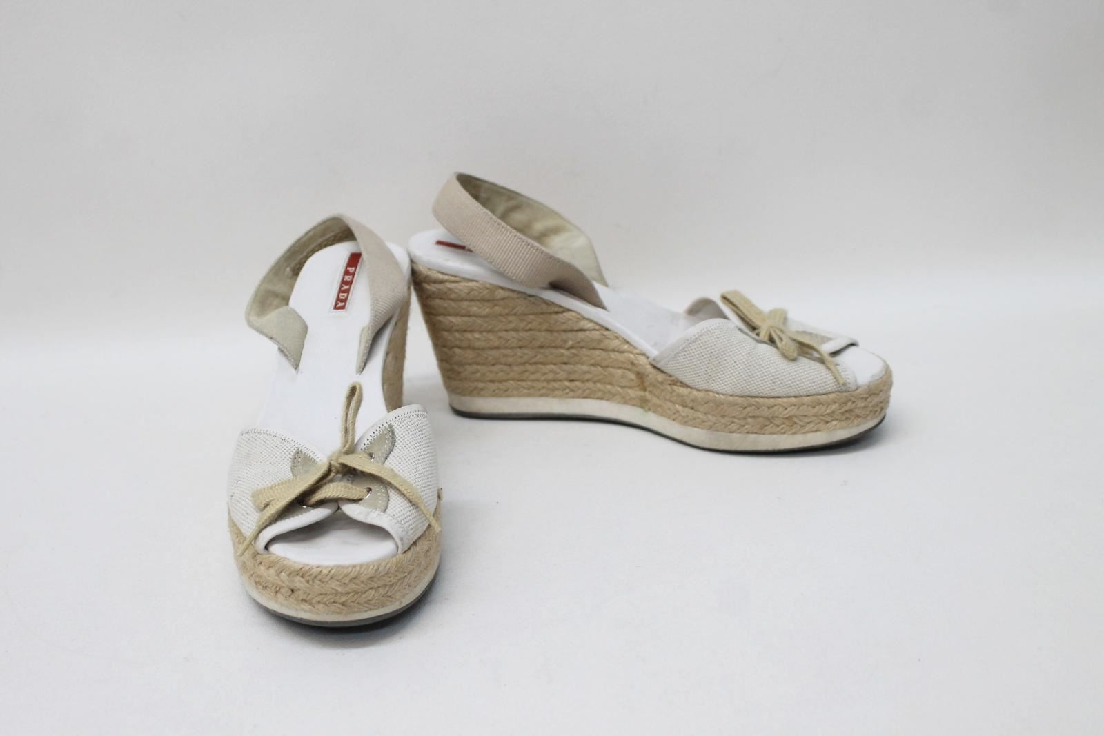PRADA Ladies White Beige Platform Wedges Espadrille Sandals Size Approx. UK5