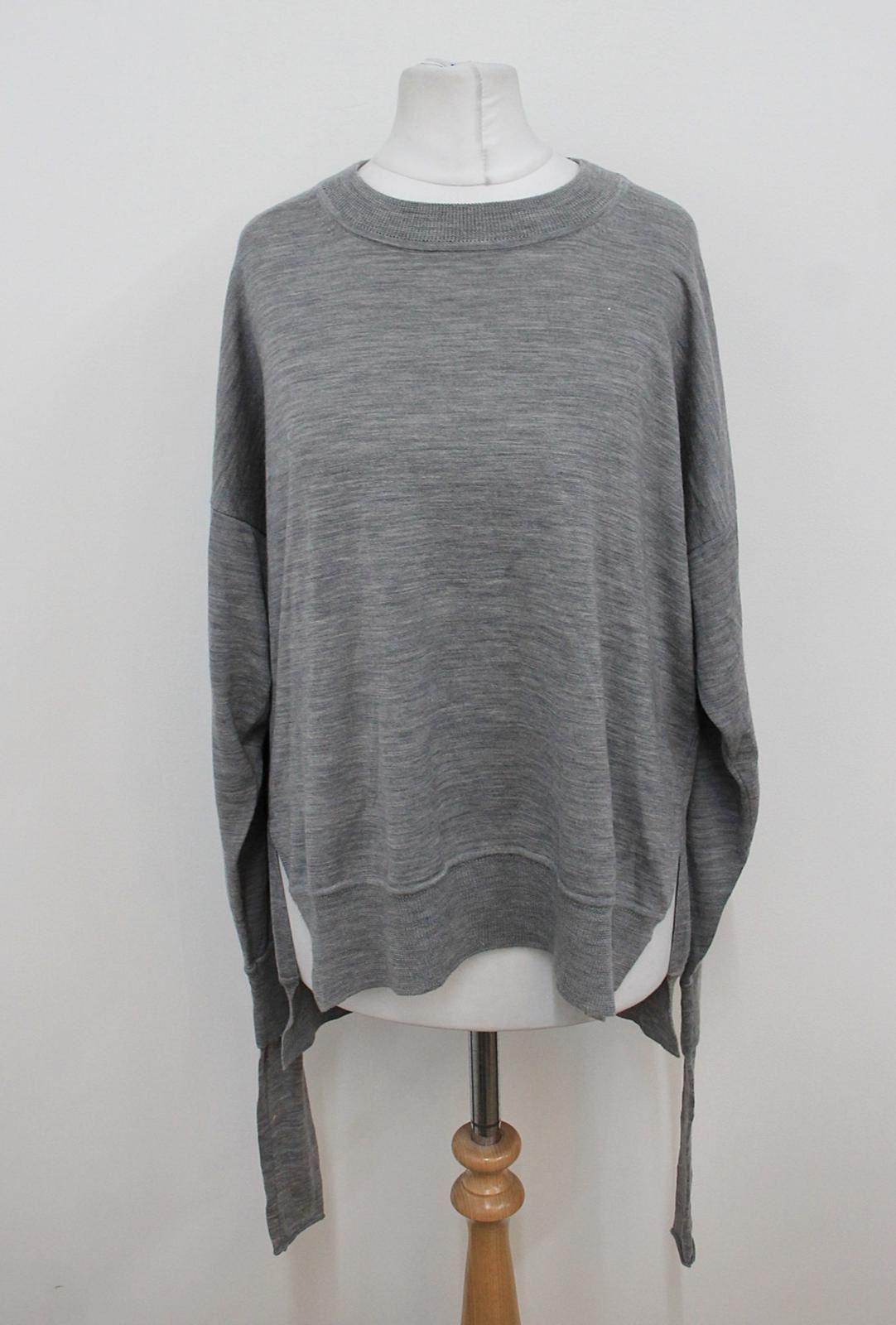 Alexander-Wang-Damen-grau-meliert-Langarm-Rundhalsausschnitt-eingefassten-Saum-Pullover-L