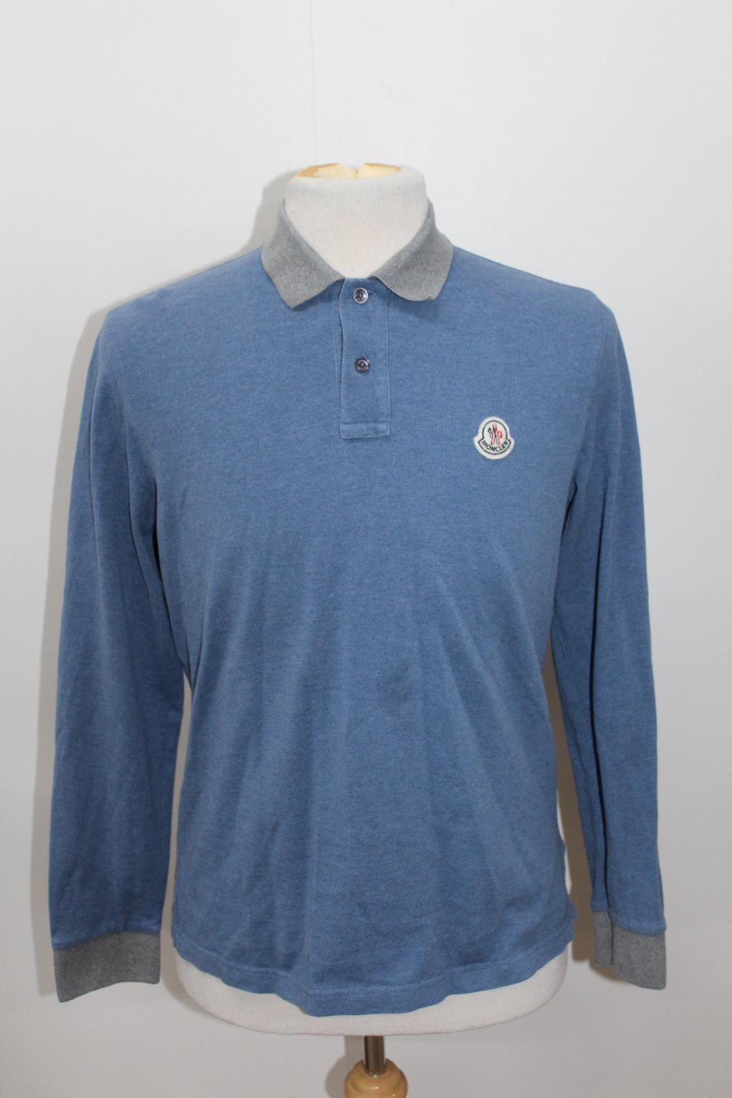 42bf9bb9 MONCLER Men's Blue & Grey Cotton Long Sleeve Collared Neck Polo ...
