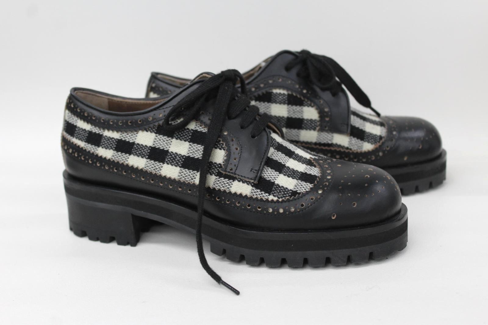 MARNI-Ladies-Black-amp-White-Check-Chunky-Sole-Lace-Up-Brogue-Shoes-UK4-EU37