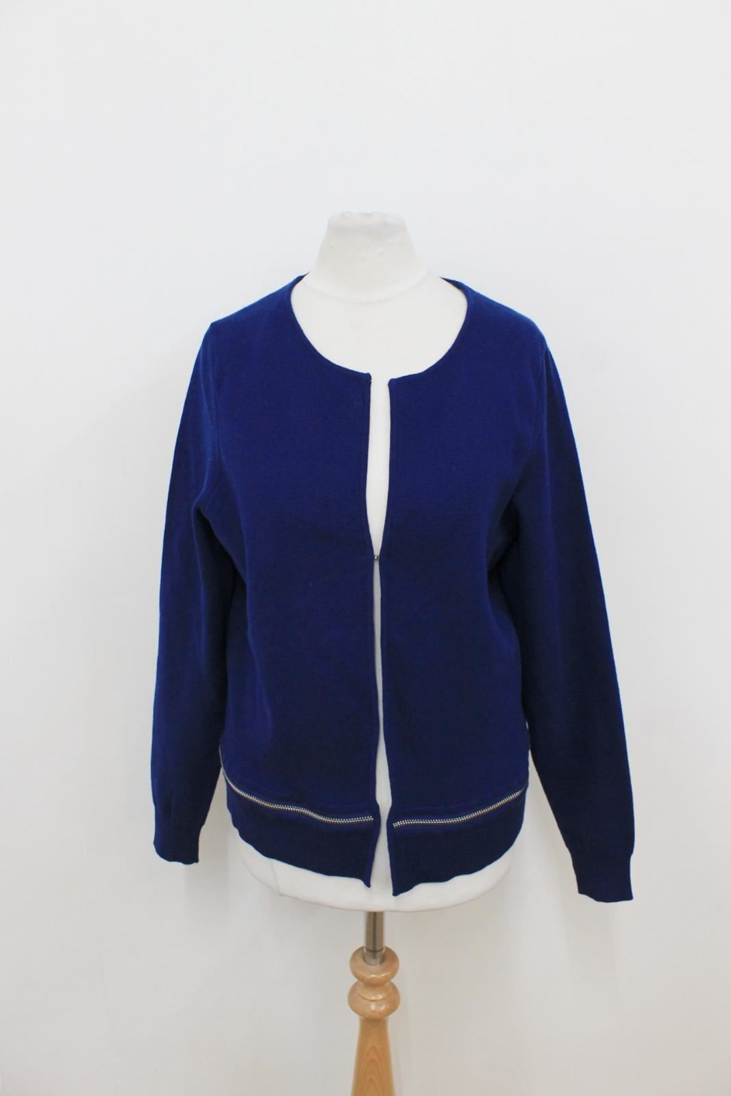 SANDRO PARIS Ladies Navy bluee Long Sleeved Knitted Fine Cardigan Size 1 S