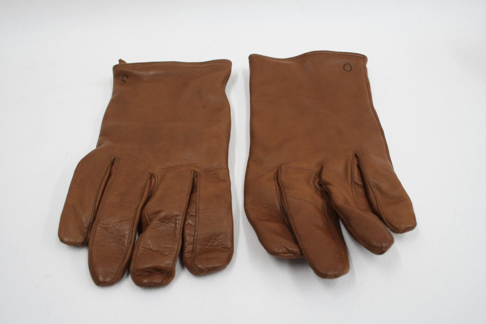 OLIVER-SWEENEY-Men-039-s-Brown-Leather-Cashmere-Lining-Zip-Up-Gloves-Size-M-L-NEW