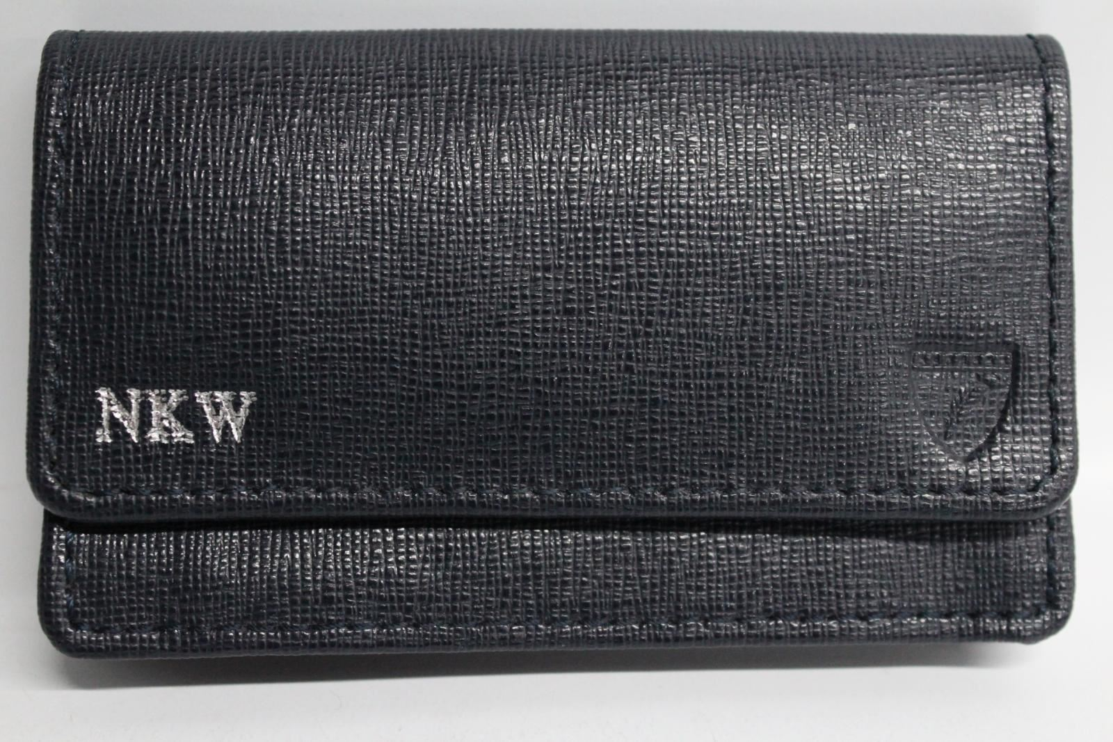 ASPINAL-OF-LONDON-Blue-Leather-Credit-Card-Holder-Wallet-Initials-NKW-NEW