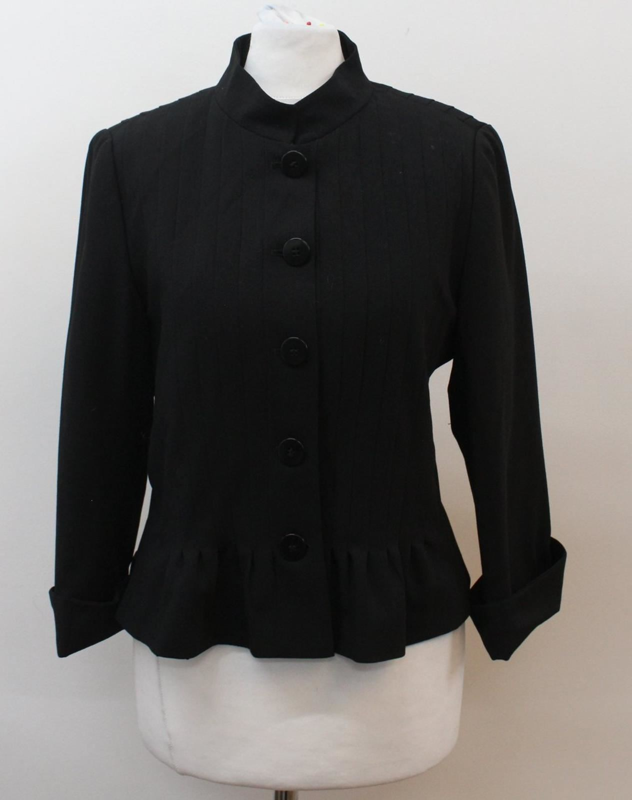 ARMANI-COLLEZIONI-Ladies-Black-Wool-3-4-Sleeve-Panelled-Blazer-Jacket-IT44-UK12