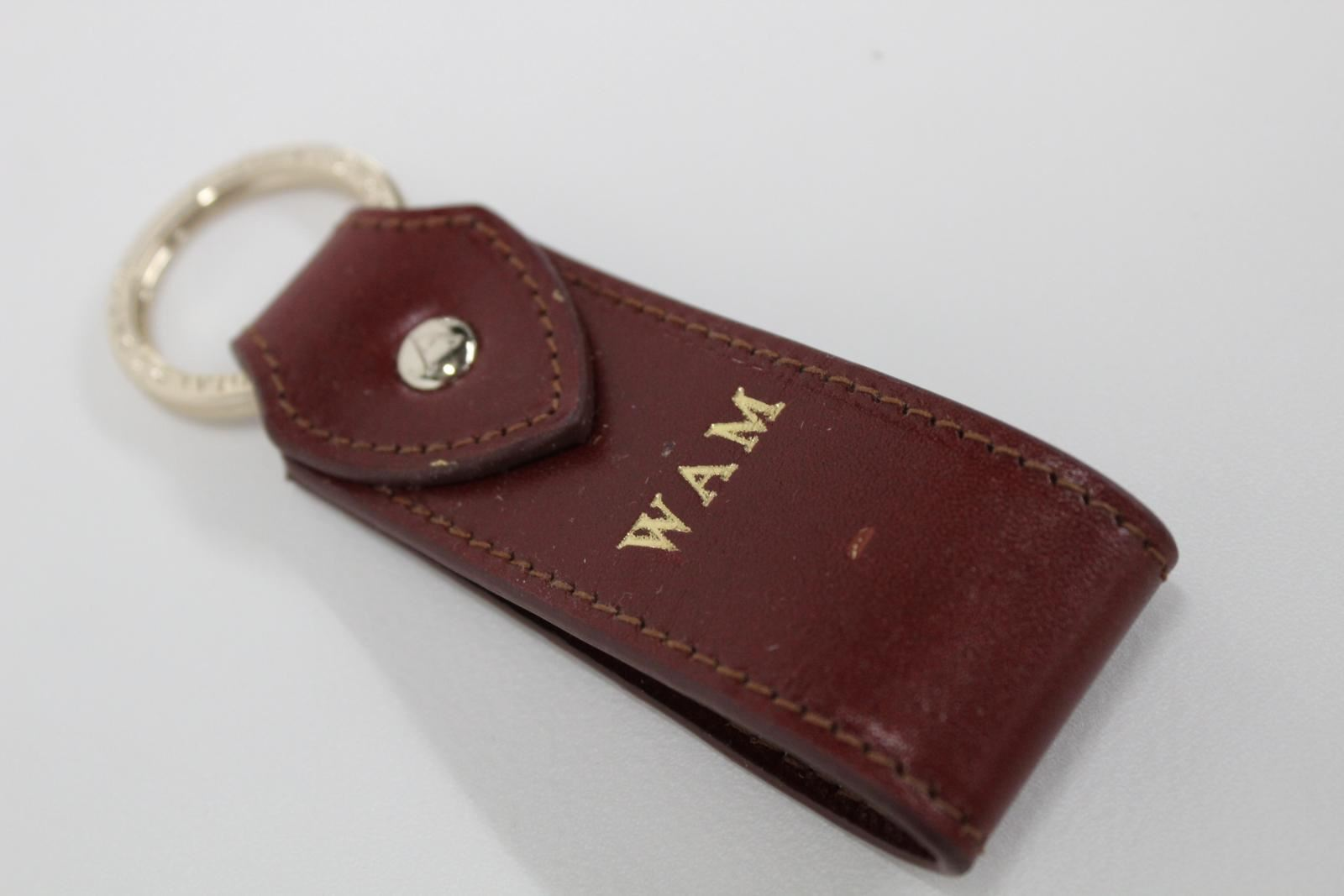 ASPINAL-OF-LONDON-Leather-Penny-Brown-Initials-Gold-Accent-Keyring-Fob-NEW