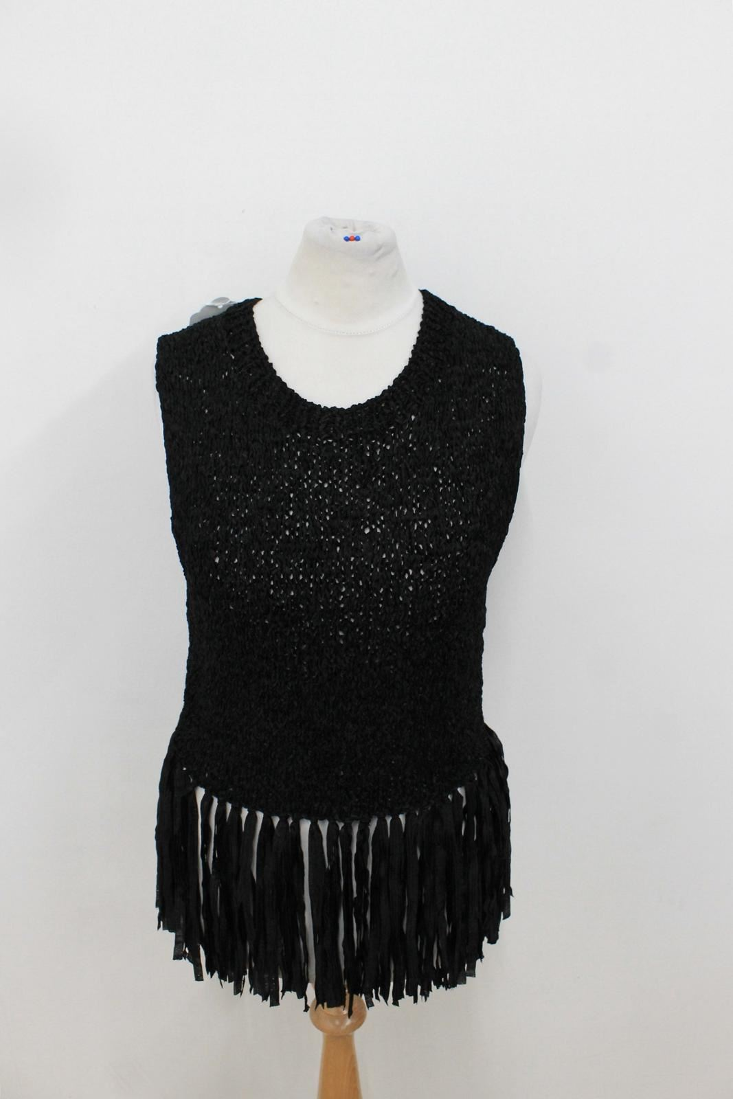 Neck Sleeveless Fringed Top Knitted Size Hem Xs c A Ladies l Black Tassel Crew qaZXH0