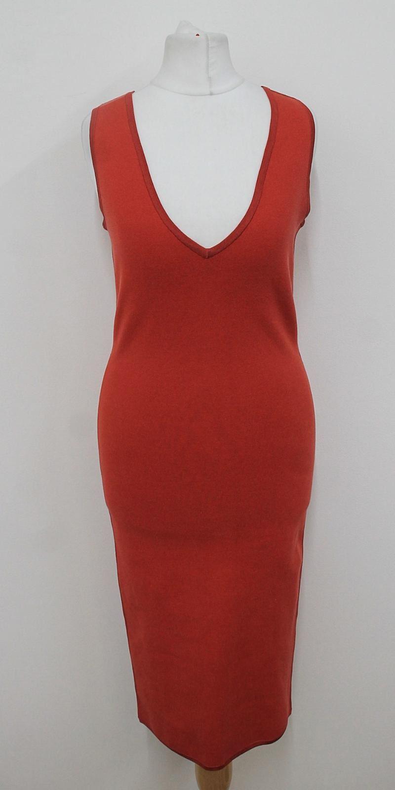 NICOLE-FARHI-Ladies-Red-Sleeveless-V-Neckline-Stretchy-Bodycon-Dress-Size-S