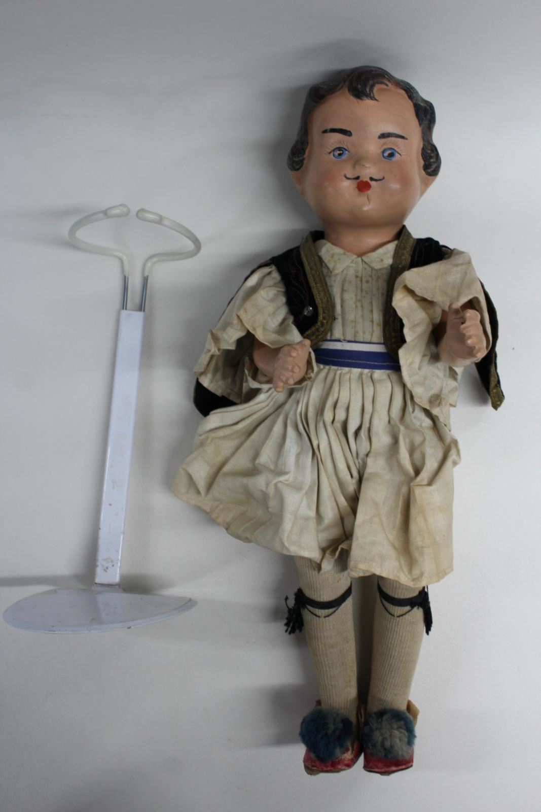 1920-Antique-18-Inch-Composition-Doll-Greek-Boy-In-Traditional-Clothing-W-Stand