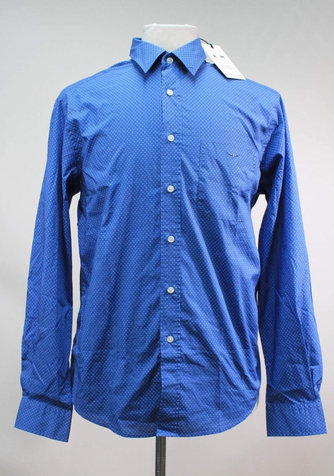 BNWT R. M. WILLIAMS Men's bluee Spotted Cotton Collared Collins Shirt Size XXL