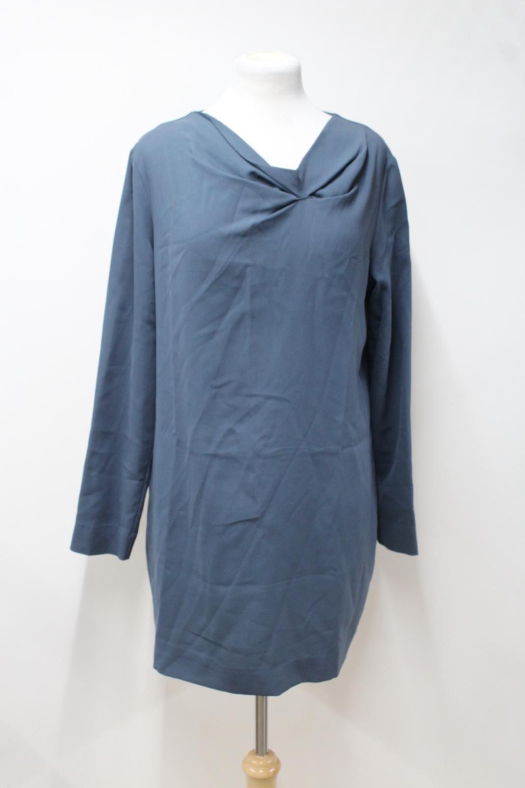 COS-Ladies-Slate-Blue-Silk-Blend-Asymmetric-Neck-Long-Sleeve-Dress-EU44-UK-L