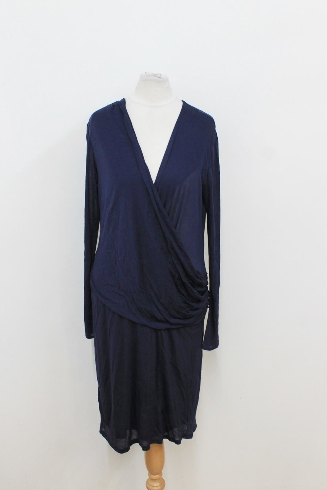 Blue Size Navy Farhi Sleeved Dress Uk10 Ladies neckline Nicole V Long Shift gvtZSvwn