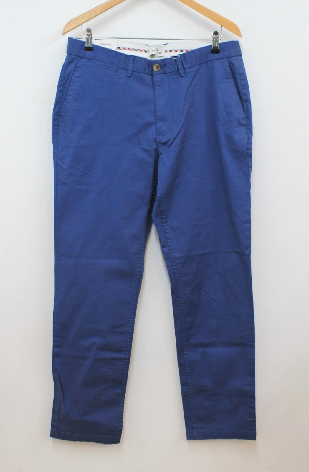 BEN-SHERMAN-Men-039-s-Stretch-Slim-Fit-Washed-Blue-Chinos-Trousers-W36-L32-BNWT