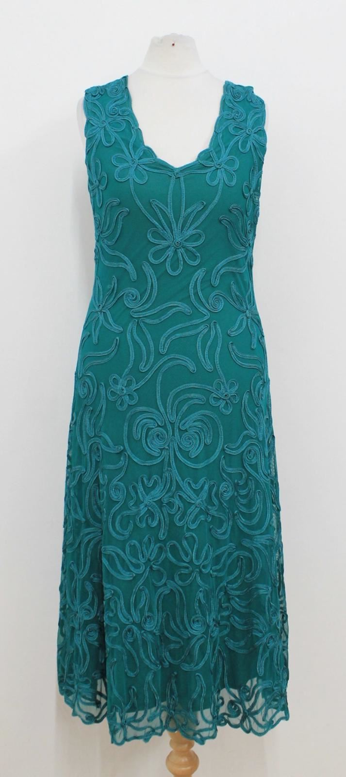 PHASE EIGHT Ladies Turquoise Embroiderot Sleeveless V-Neck Dress Größe Approx. S