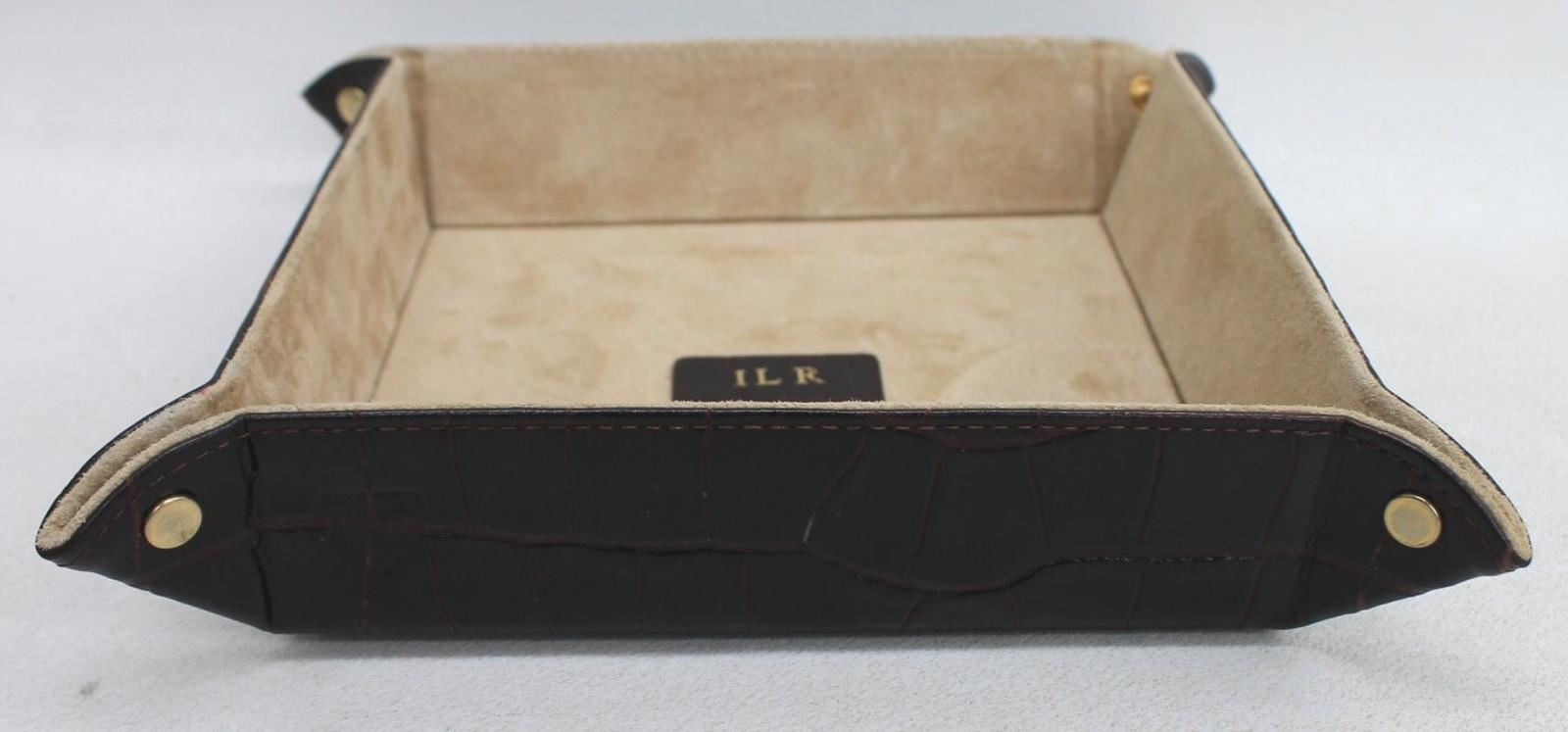 ASPINAL-OF-LONDON-Mahogany-Croc-Print-Leather-Medium-Tidy-Tray-Embossed-ILR-NEW