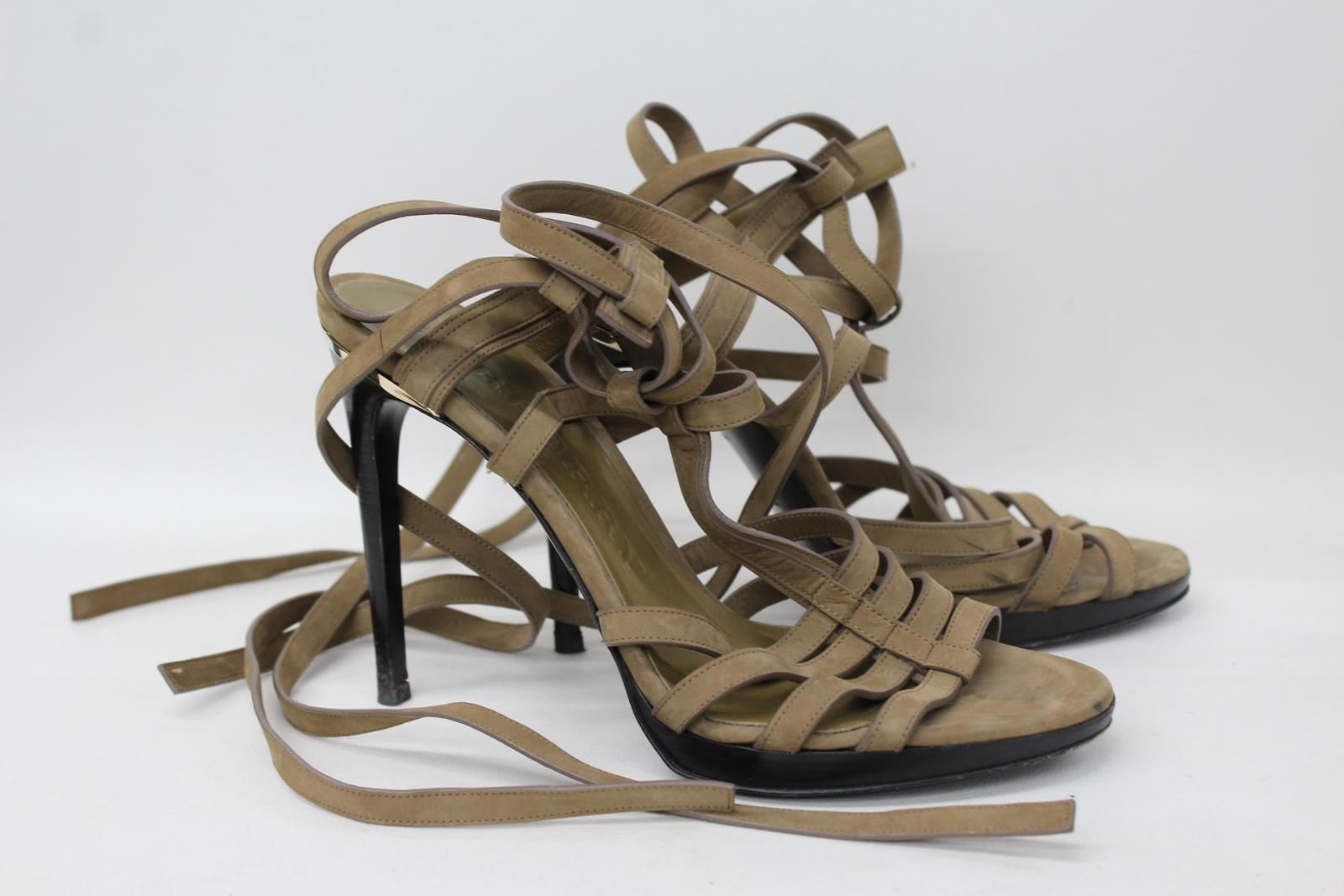 BURBERRY-Ladies-Khaki-Nubuck-Leather-Stiletto-Heel-Strappy-Sandals-EU40-UK7