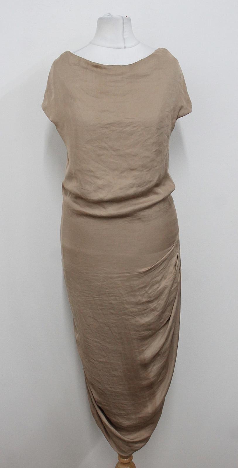 ALL-SAINTS-SPITALFIELDS-Ladies-Tan-Beige-Sleeveless-Ruched-Dress-Size-UK10