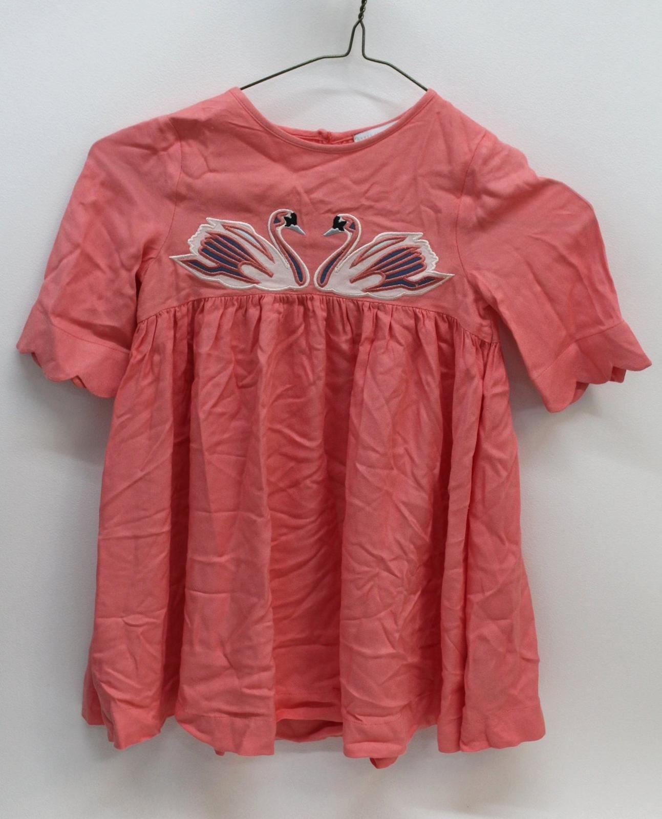 STELLA-MCCARTNEY-KIDS-Girls-Coral-Orange-3-4-Sleeve-Swan-Embroidery-Dress-4-Yrs