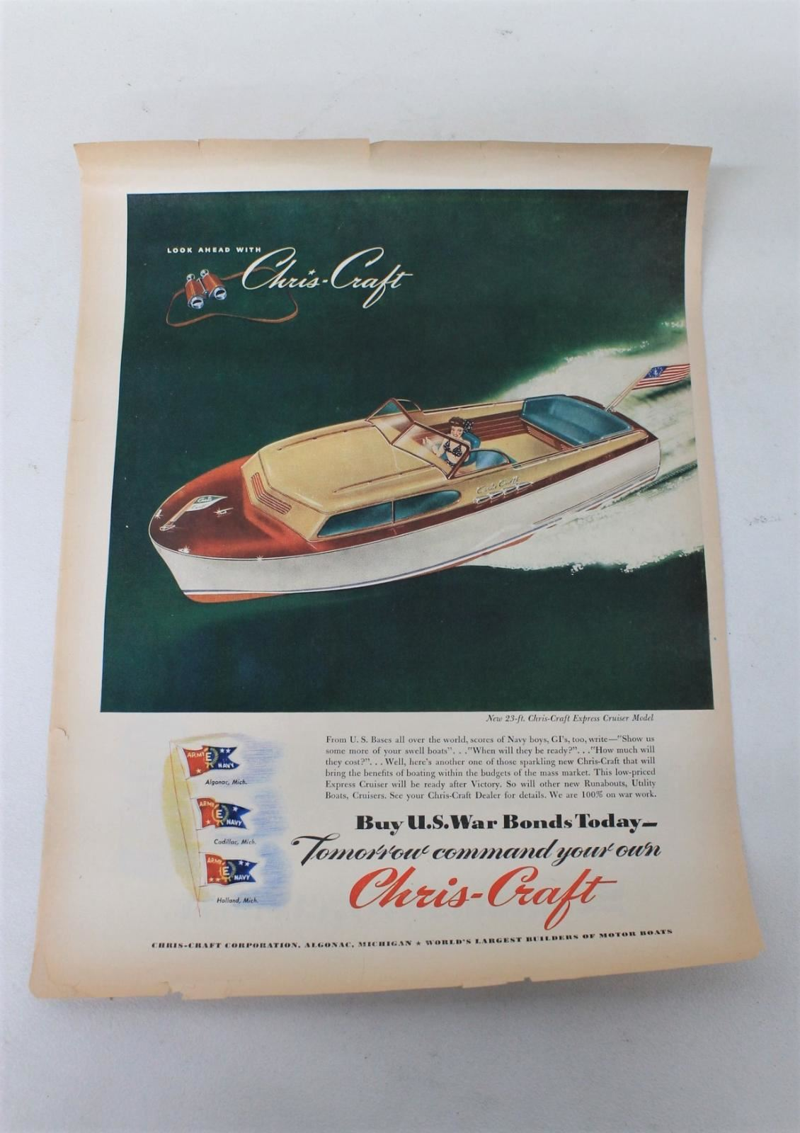 Chris-Craft-Express-Cruiser-Boat-w-Blonde-Girl-Large-Vintage-Ad-Print-Paper