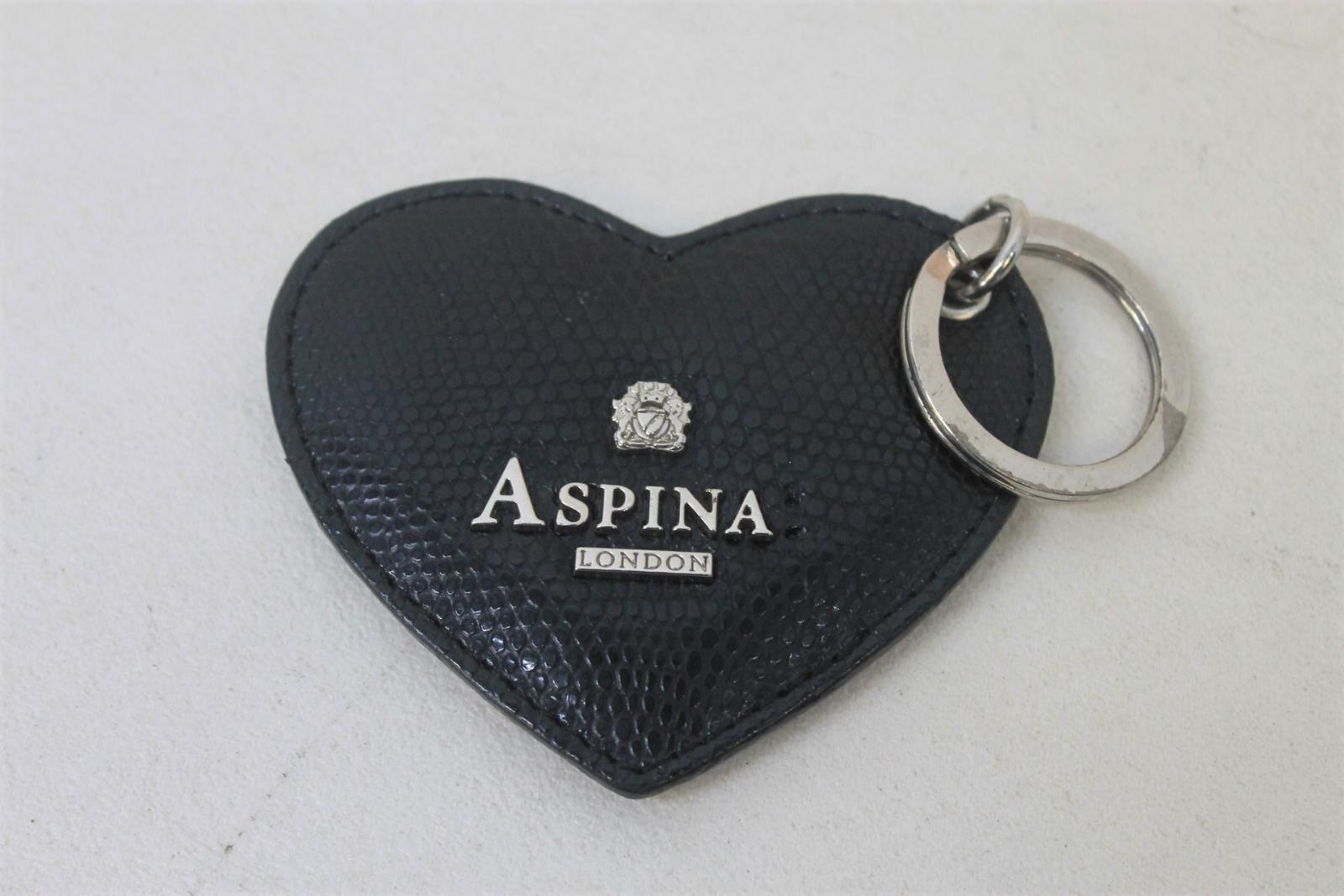 ASPINAL-OF-LONDON-Ladies-Black-Lizard-Print-Leather-Heart-Keyring-Charm-NEW