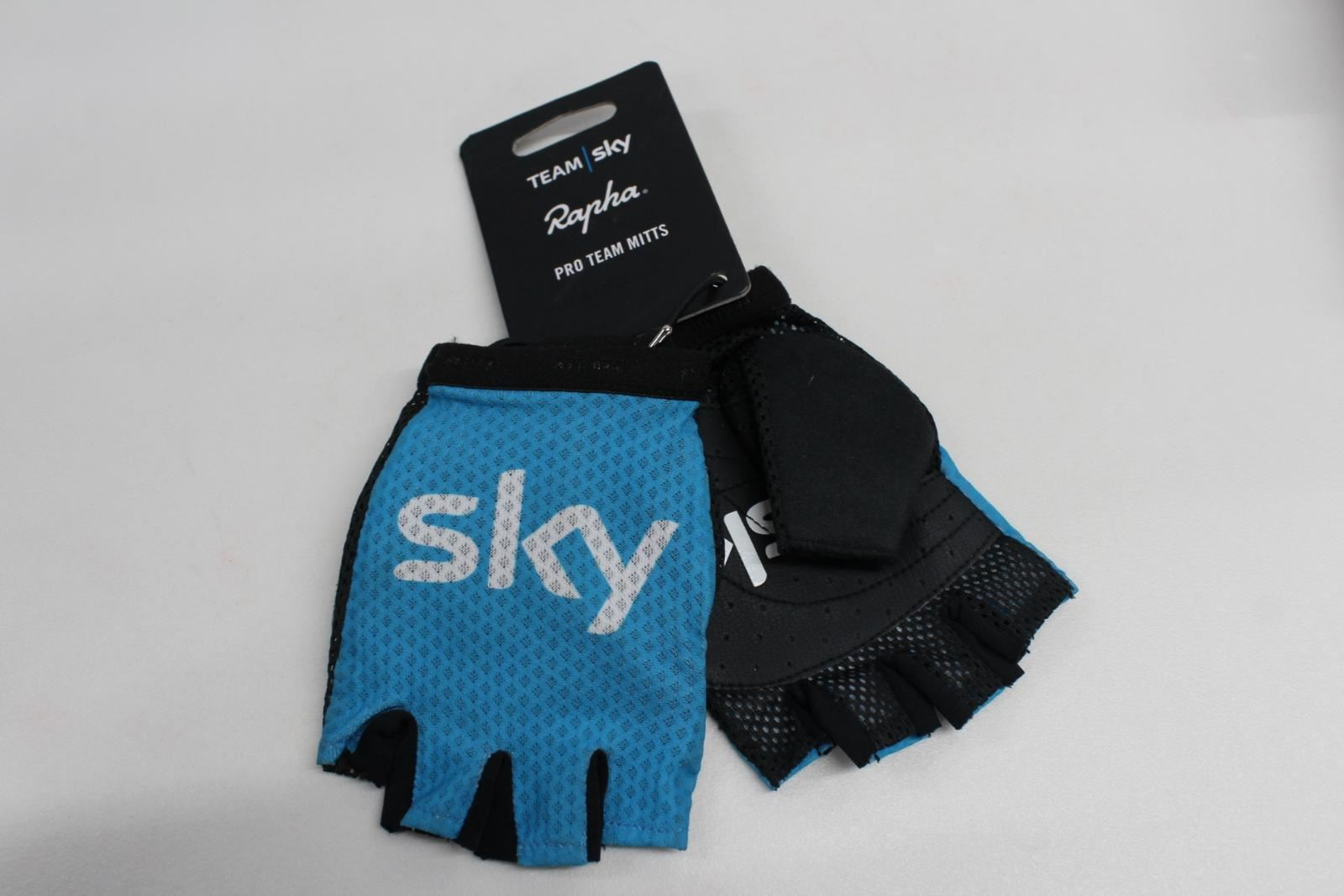 RAPHA-Mens-Sky-Pro-Team-Cycling-Mitts-Blue-Fingerless-Size-Extra-Small-NEW