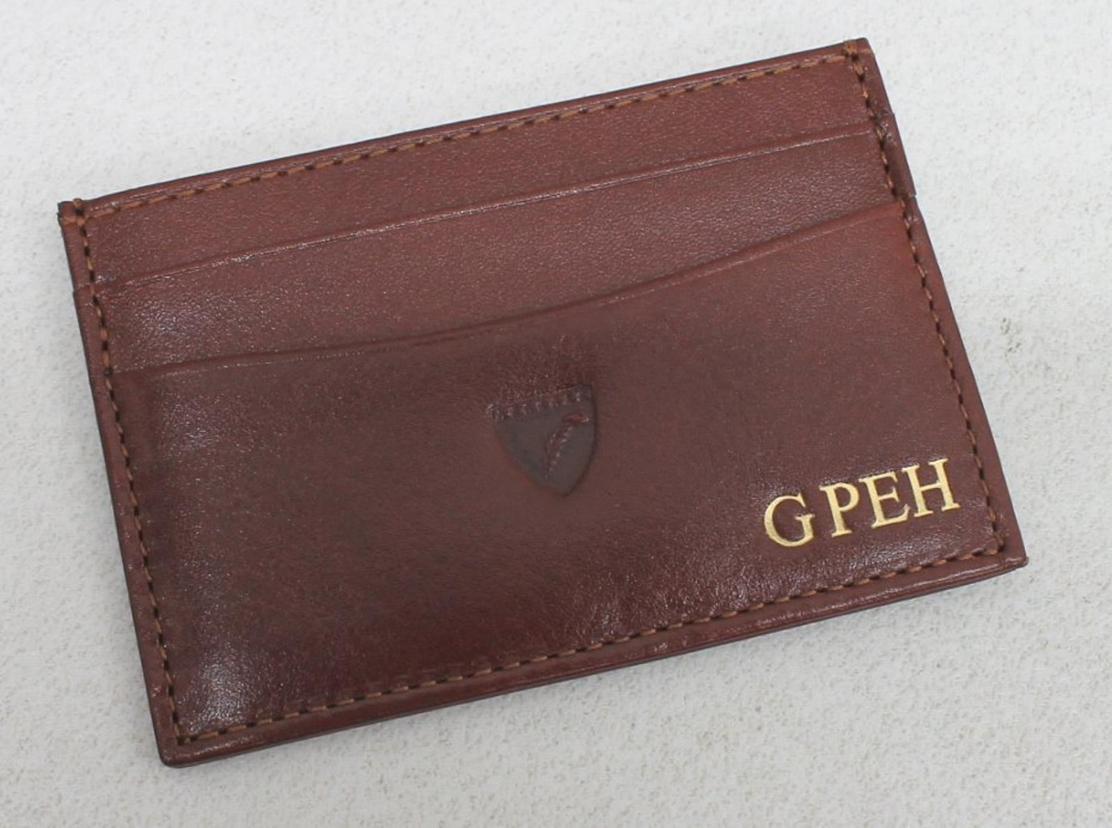 ASPINAL-OF-LONDON-Men-039-s-Brown-Leather-Slim-6-Credit-Card-Case-Embossed-NEW