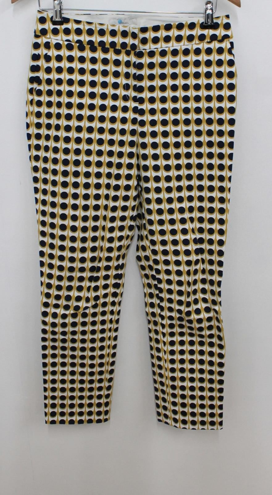 BODEN Ladies White bluee Yellow Graphic High Waisted Straight Trousers UK10 W30