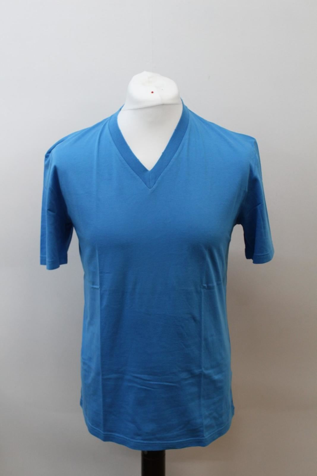 PRADA-Men-039-s-Deep-Blue-Cotton-Short-Sleeve-V-Neckline-Basic-T-Shirt-Size-XL