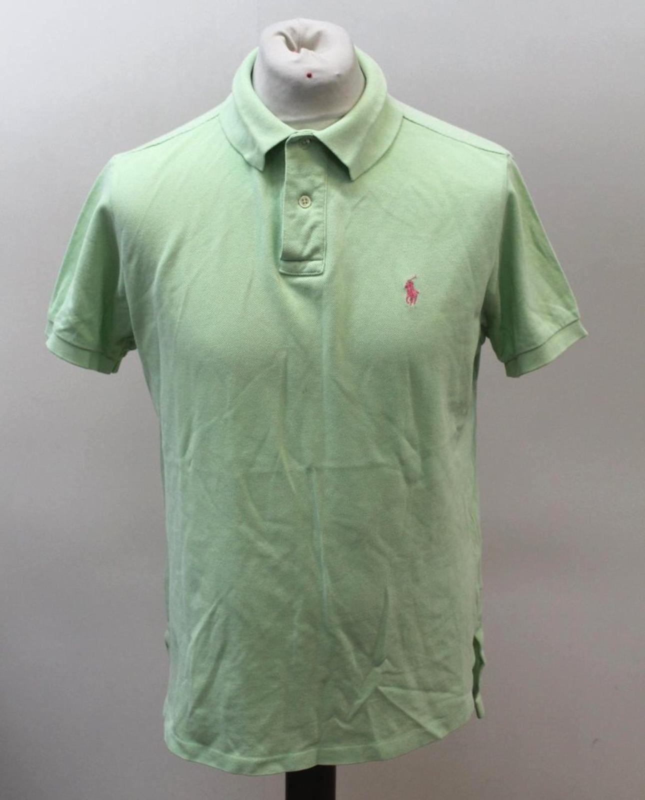 Polo-by-Ralph-Lauren-Hombre-Verde-De-Algodon-Manga-Corta-Con-Cuello-Camisa-Polo-Talla-L