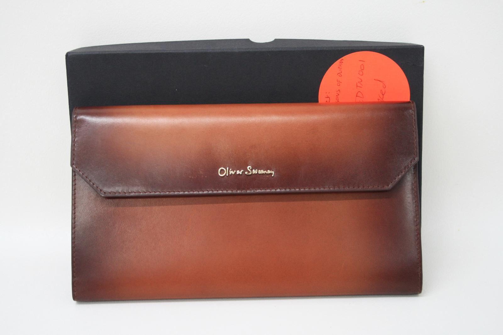OLIVER-SWEENEY-Men-039-s-Purtington-Dark-Tan-Brown-Leather-Travel-Wallet-NEW