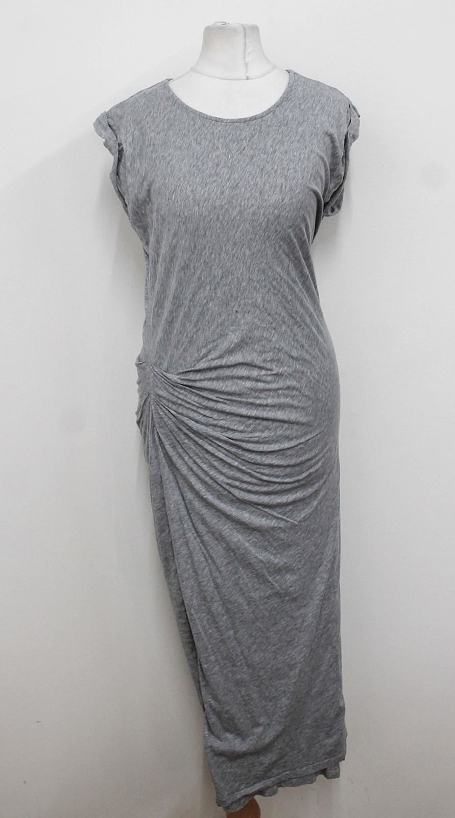 ALL-SAINTS-Ladies-Light-Grey-Cap-Sleeved-Crew-Neckline-Ruched-Maxi-Dress-UK12