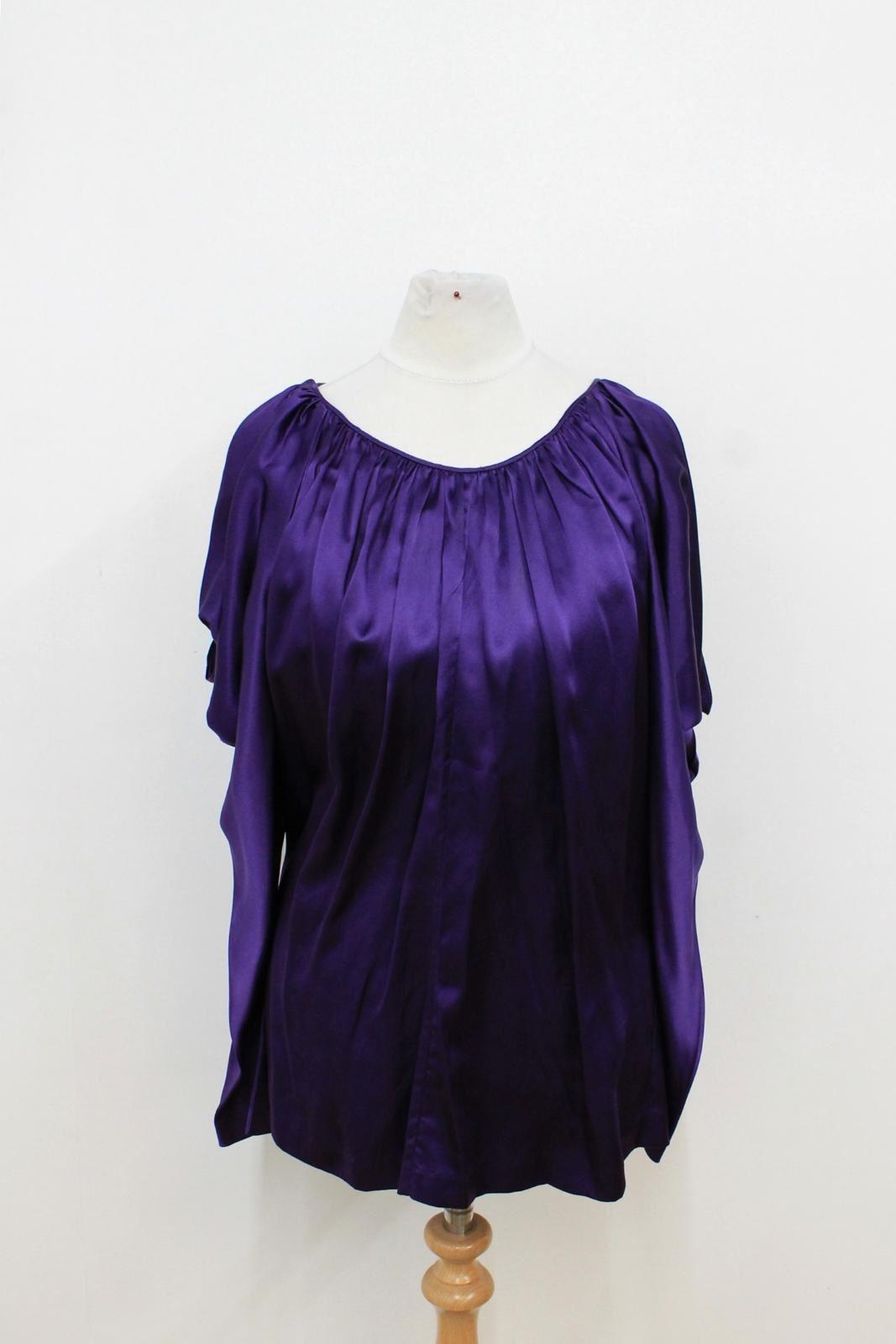 JAY GODFREY donna viola Seta spalle fredde a maniche lunghe Blusa Taglia US6 UK10