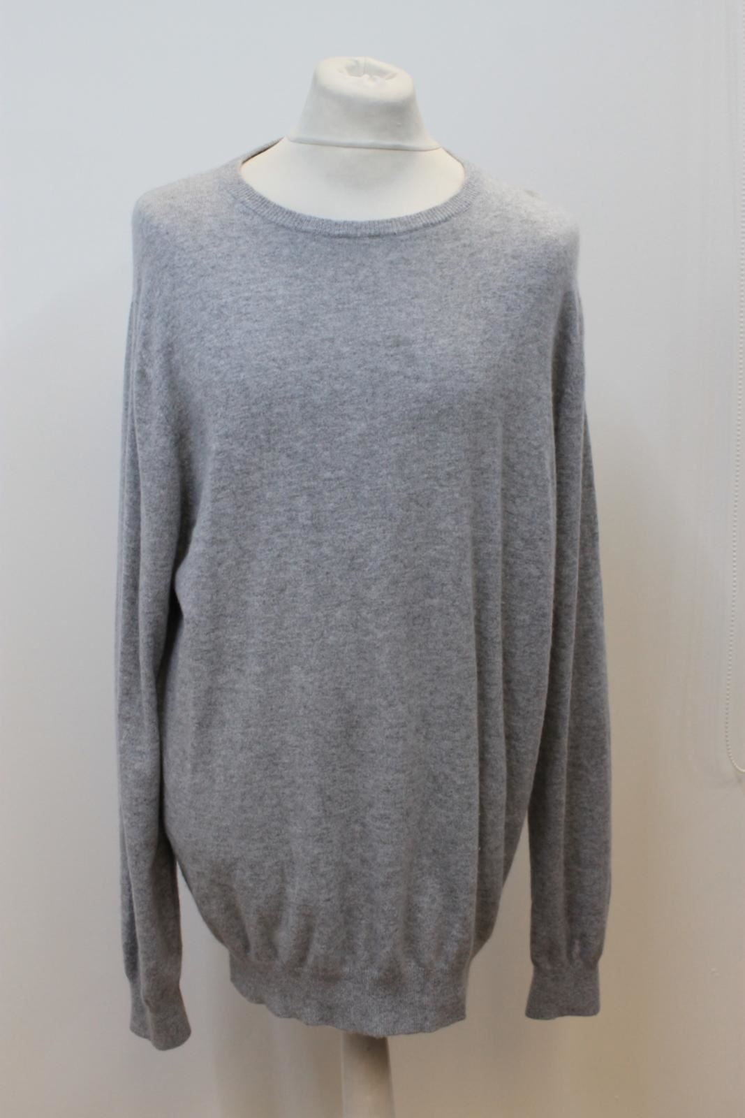 PURE COLLECTION Men's 100% Cashmere Grey Long Sleeve Knitted Jumper Size XXL