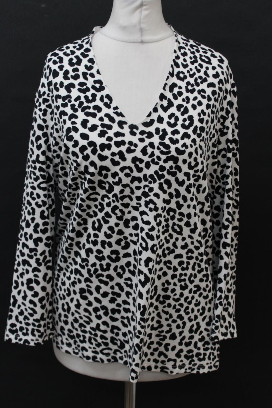 HOBBS-Ladies-Aimee-Navy-Ivory-Spotted-Print-3-4-Sleeve-Top-Size-Large-NEW