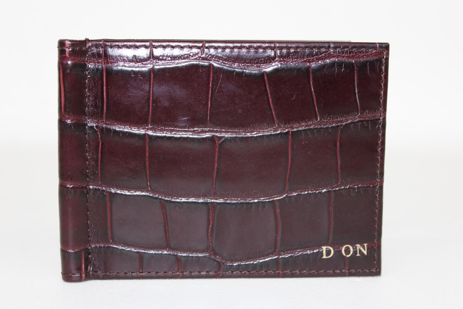 ASPINAL-OF-LONDON-Calf-Amazon-Brown-Croc-Money-Clip-Billfold-Embossed-Wallet