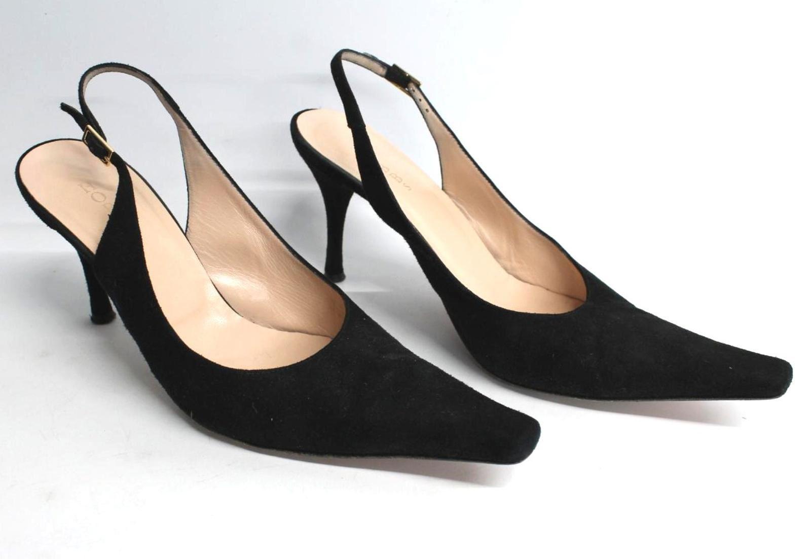 Hobbs-femmes-en-daim-noir-Sling-Arriere-bout-pointu-et-talon-aiguille-Chaussure-UK6-5-EU39-5