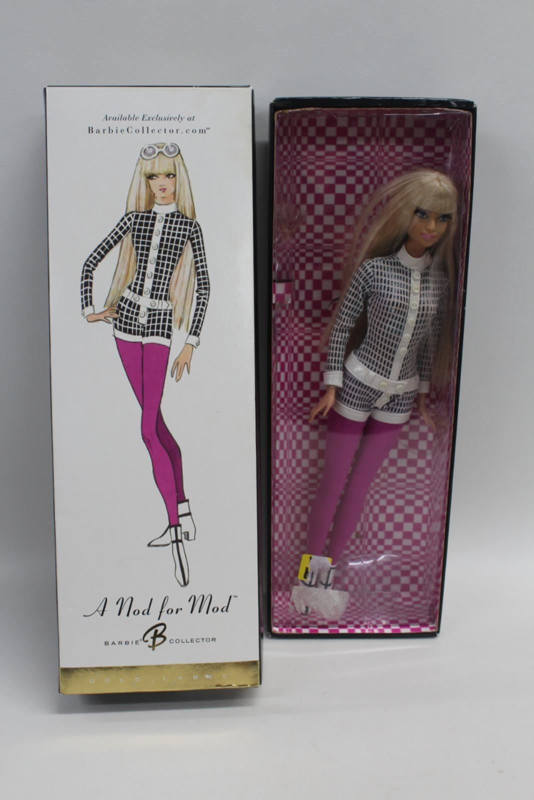 Mattel-Barbie-2003-Collector-Club-Exclusives-Gold-Label-a-Nod-for-Mod-Doll-C6261
