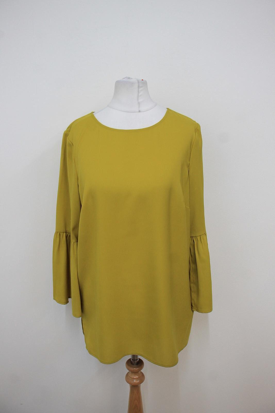 HOBBS-Ladies-Mimosa-Green-Frilled-3-4-Sleeved-Louisa-Blouse-Size-UK8-NEW
